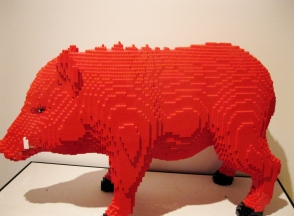 Lego pig at Bill Clinton Museum Lego exhibition