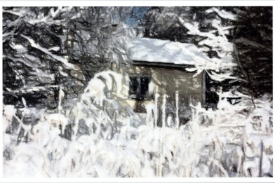 old house snowed in
