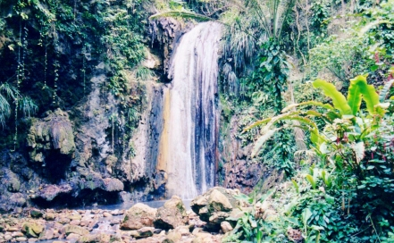 St lucia jungle waterfall