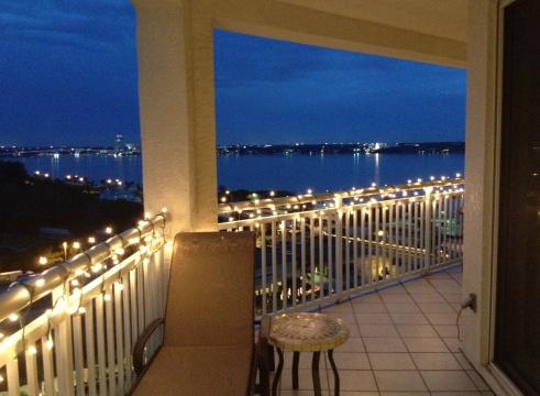 part of the terrace all lit up