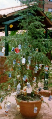 Xmas tree with cans in Botswana