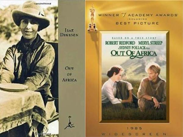 Out of Africa book and film covers