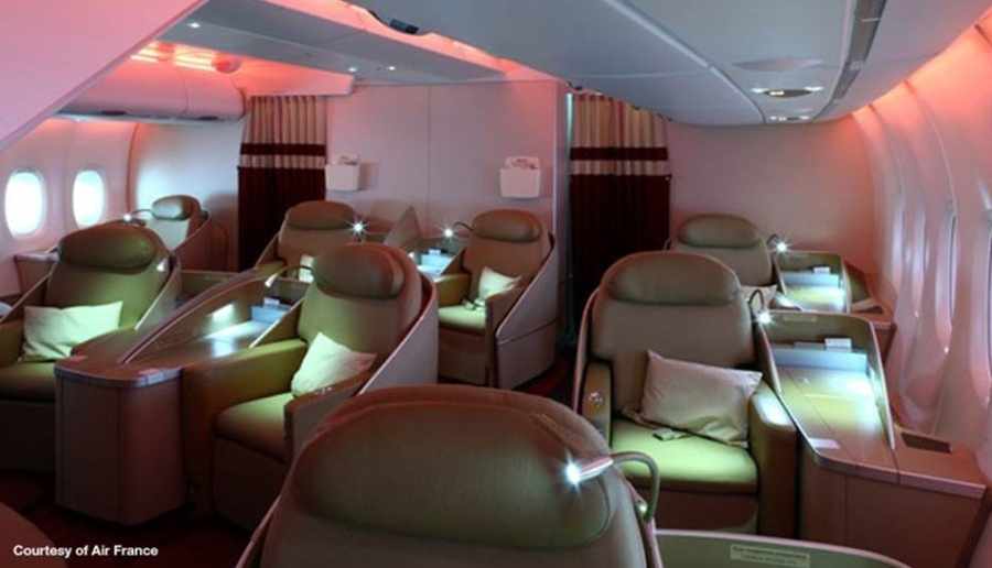 First class cabin on AF Airbus 380