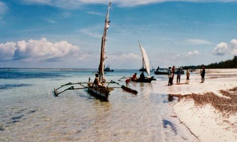 boats on the beach mombasa kenya