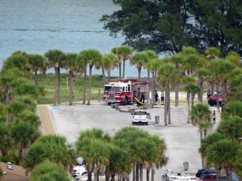 fire trucks in Sand Key park