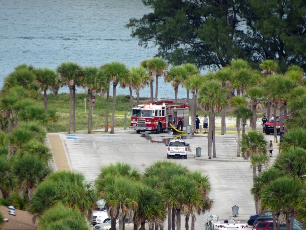 fire trucks in Sand Key park