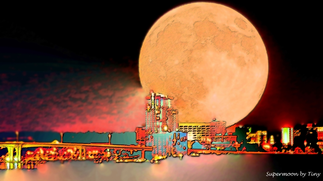 supermoon over the bay digi art by Tiny