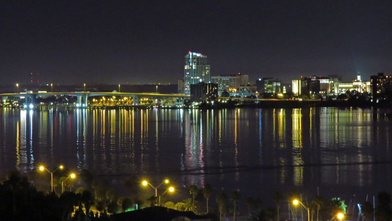 Clearwater fl bay at night