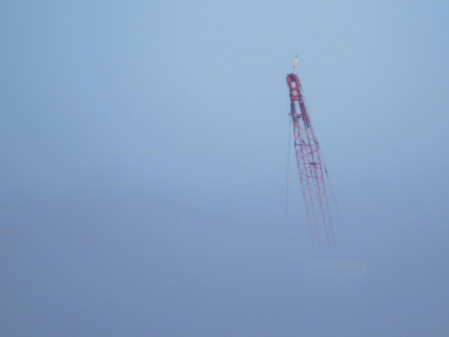 crane in the fog