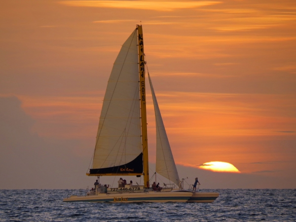 sailboat at sunset clearwater fl