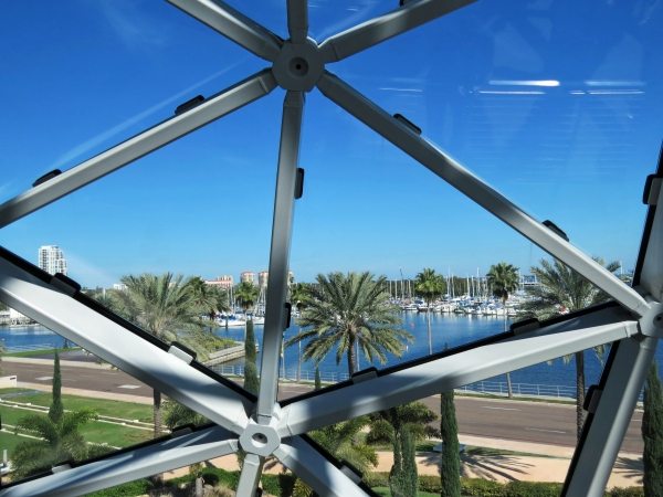 view towards the marina from through dali museum windows