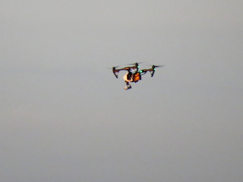 a drone flies over Sand Key park