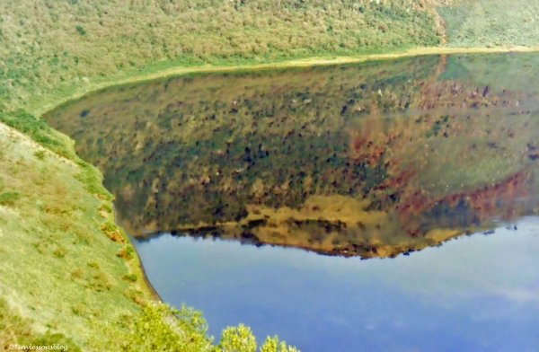 A crater lake in Queen Elizabeth National Park in Uganda. Half crater, half lake.