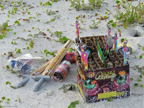 fireworks paraphernalia left behind on the beach clearwater florida