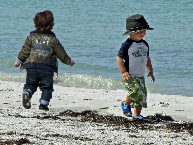 two little boys on the beach