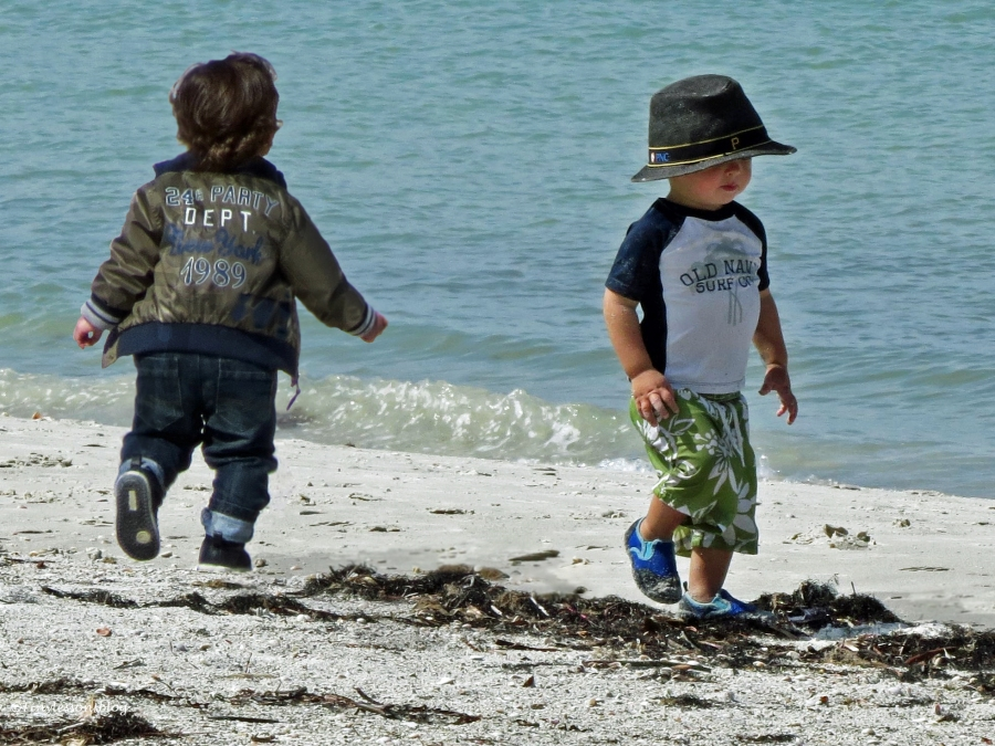 two little boys on the beach