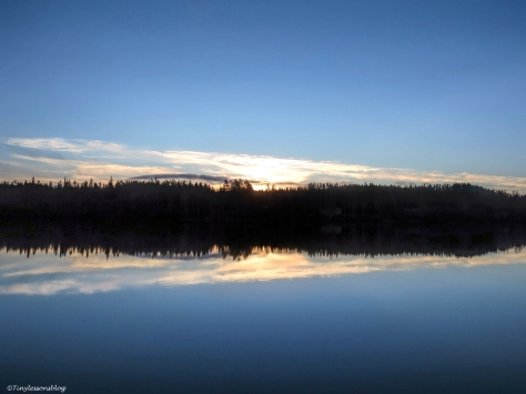 sunrise over the lake in Finland