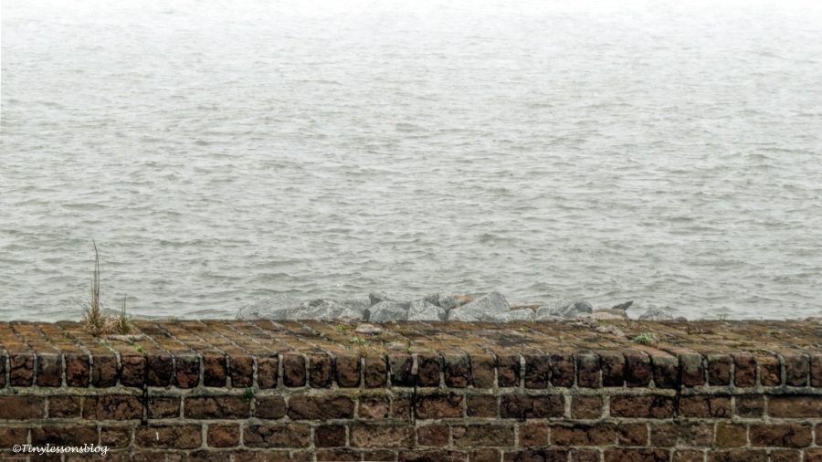 at the wall of fort clinch