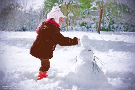 Girl making a snowman digital art
