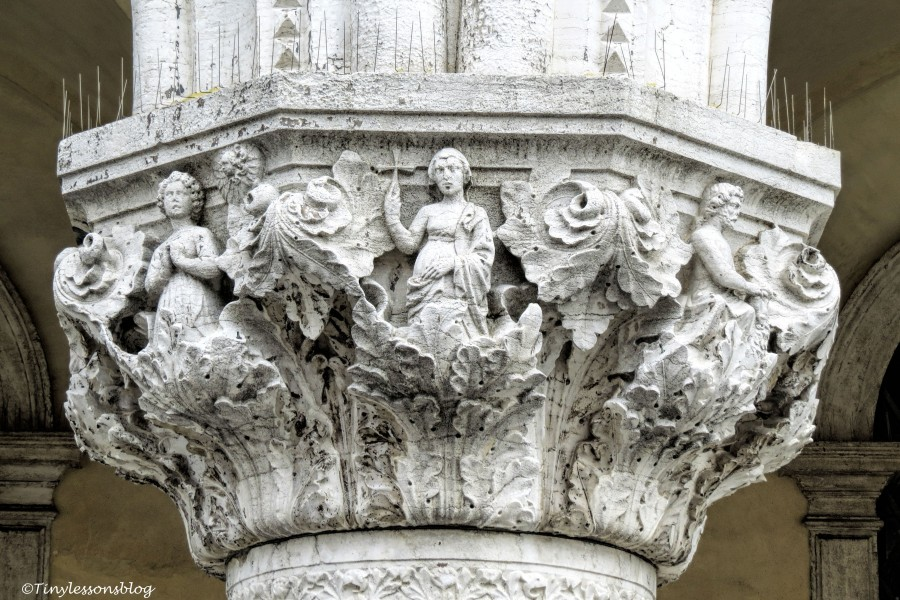 Detail of a pillar in Venice