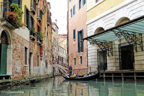 in the gondola in Venice