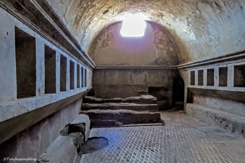 inside of the bath house in Pompeii