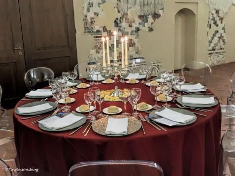 my dinner table at Castello Visconteo Milan