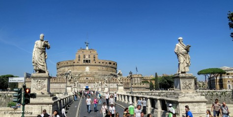 Piazza and castel St Angelo Rome