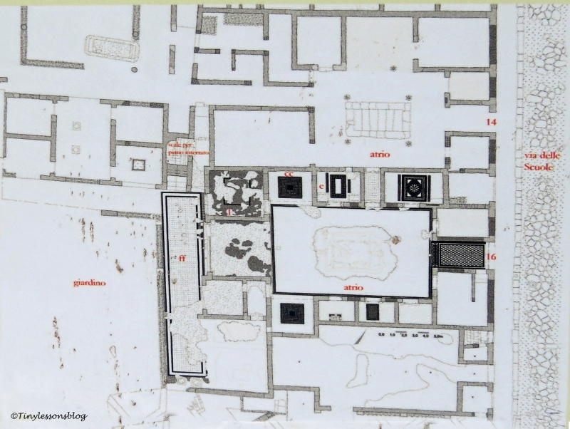 the floor plan of the latest opened house in Pompeii