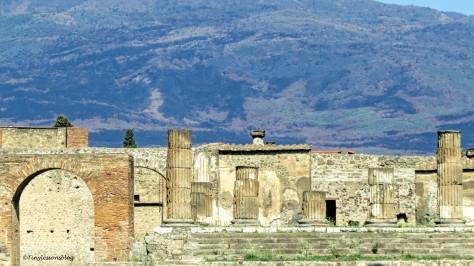 the Forum with backdrop of Vesuvius Pompeii