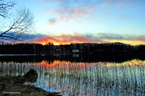 sunrise fire at lake sulunjarvi finland ud142